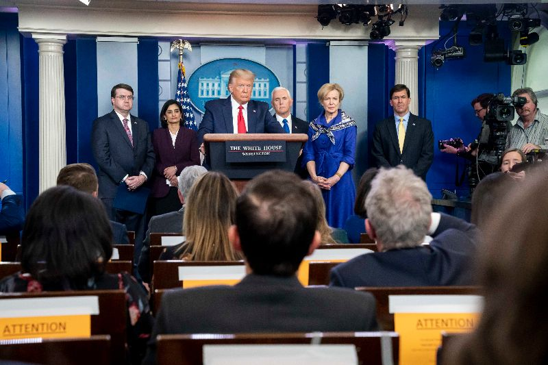 President Trump holds a press conference regarding the Chinese coronavirus. Photo courtesy of the White House