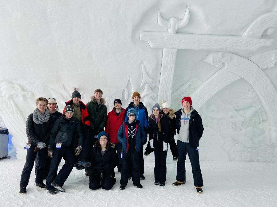 The French Club enjoying a tour of the Ice Hotel.