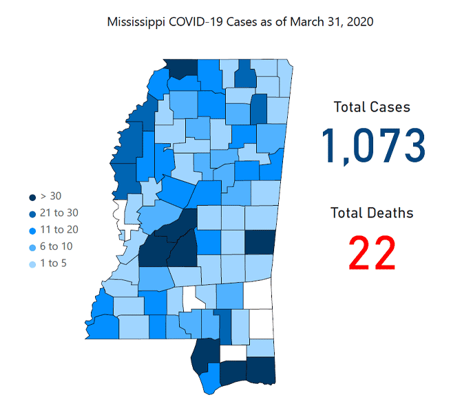 Statewide shelter in place order issued as Mississippi hits 1,000+ cases of COVID-19 (UPDATE 4/3)