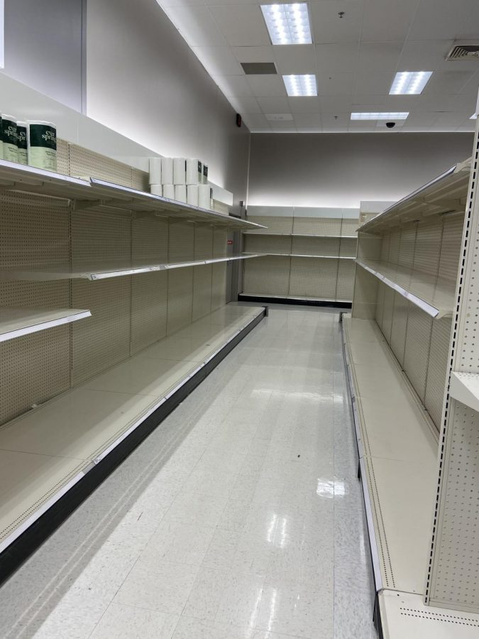Apocalyptically barren shelves at local stores greet shoppers searching for sanitation supplies.