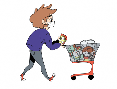 A shopper follows CDC guidelines while wearing a mask at the grocery store. Illustration by Kalyn Giesecke
