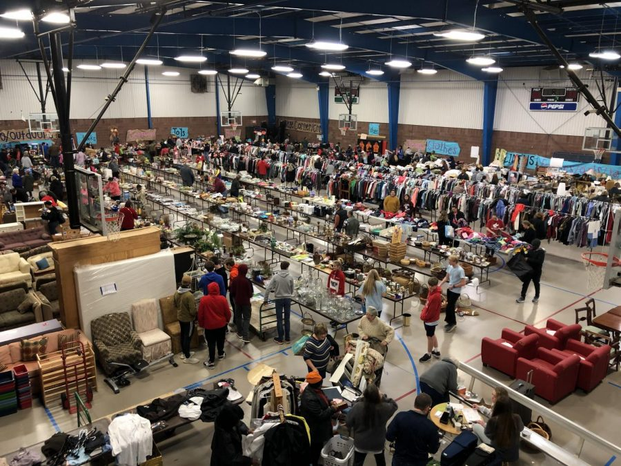 A birds eye view of the sale.