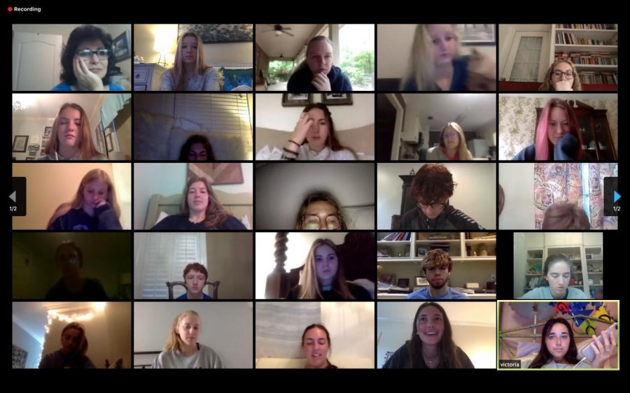 Meeting via Zoom, the Précis staff works on the yearbook documenting this year.