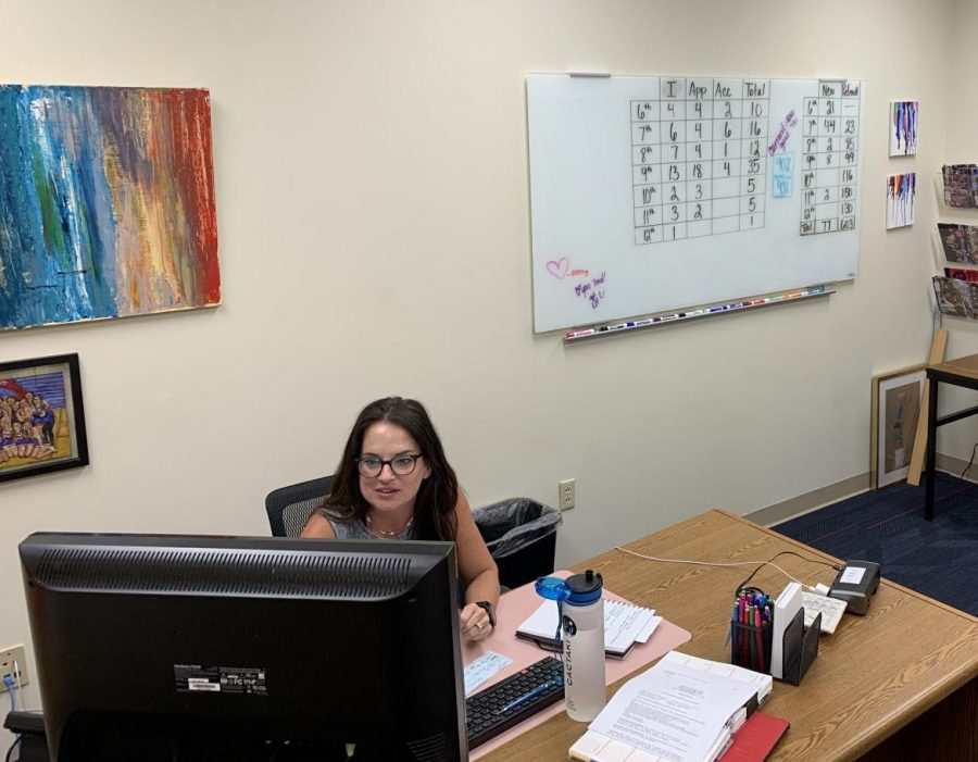Prep's director of admission, Ms. Tracie Mallard, at work in her office
