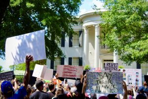Protesters in front of the Governor's Mansion on June 6