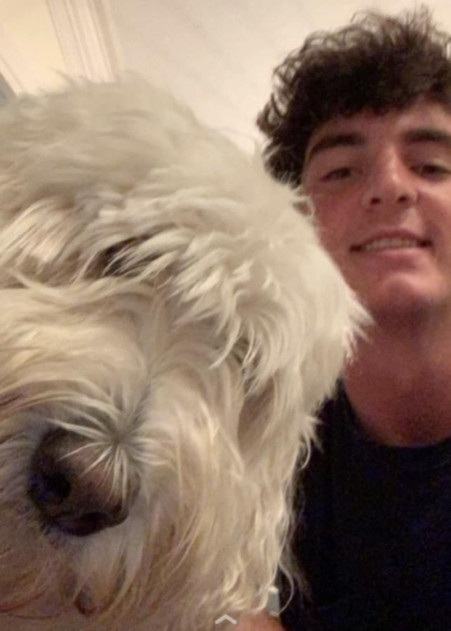 Garner with his dog Archie.