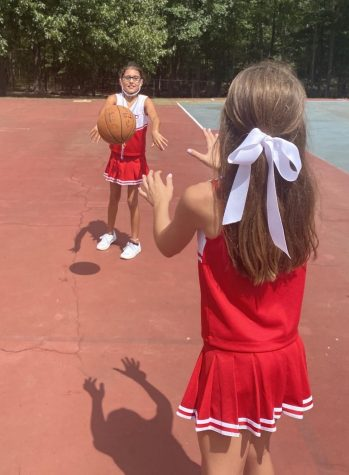Caylin Simmons plays basketball during P.E.