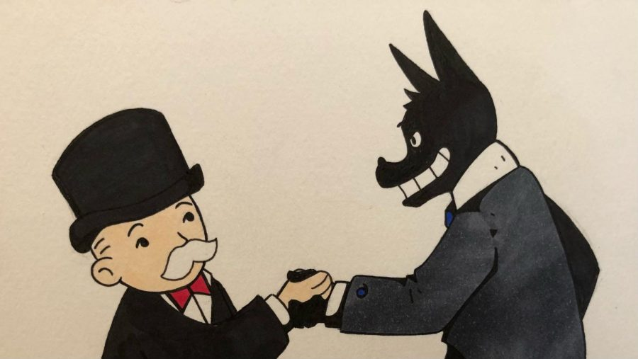 Monopoly Man makes a corrupt backroom deal. Illustration by Kalyn Giesecke