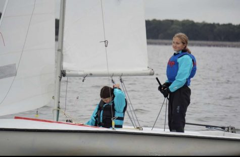 Allison Currie and Sophia Malone work on their sailing skills.