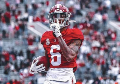 DeVonta Smith celebrates after scoring. Photo via Alabama Football Instagram.