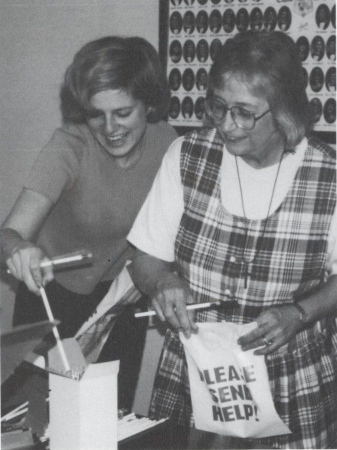 Elizabeth Shackelford (left) with longtime Prep social studies teacher Susanna Orr.