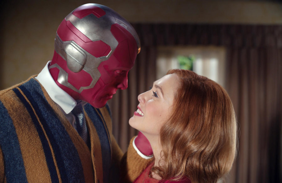 Paul Bettany and Elizabeth Olsen star as the Vision and Wanda Maximoff in Marvel Studios WandaVision