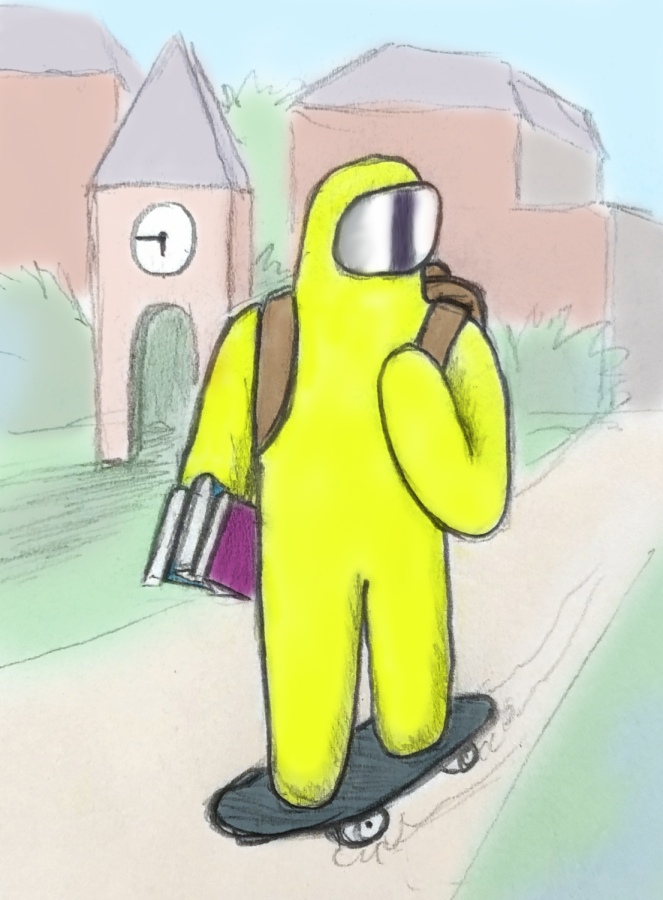 A student dresses for college during a pandemic.