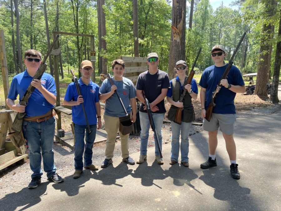 The shooters gather together after finishing the state championship shoot.