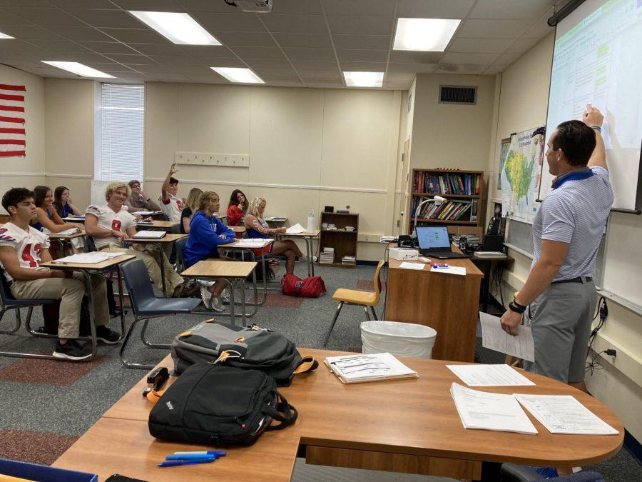 Coach Derek Rang teaching class.