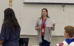Ms. Sarah Shaw teaching in her Guyton Center classroom.