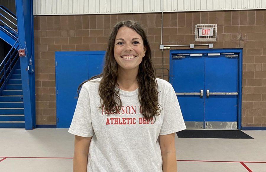Coach Melanie Aldridge in the Manning Center.